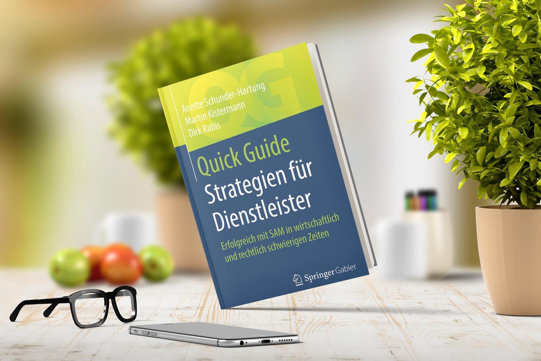 Das Buch Strategien für Dienstleister - Erfolgreicher mit SAM in wirtschaftlich und rechtlich schwierigen Zeiten. Cover-Design Dirk Rabis